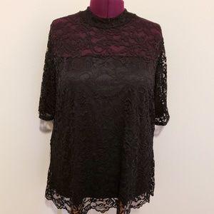 New Torrid lace mock neck blouse